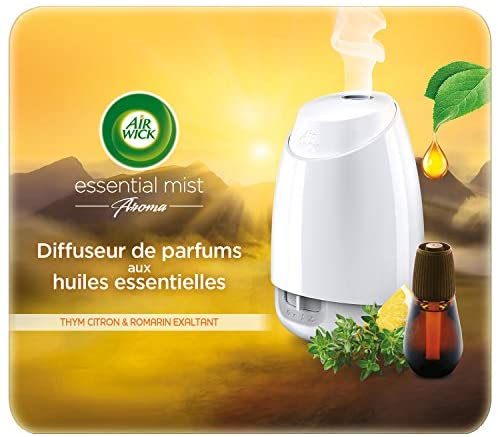 Air Wick Diffuseur d'Huiles Essentielles Essential Mist + 1 Recharge Parfum Thym Citron