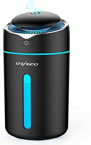 CACAGOO 300ml Mini Humidificateur d'Air Maison Ultrasonique silencieux, Huimidificateur Bébé avec 2 Mode de Brume Fraîche, 7 Couleurs LED, Arrêt automatique et Alimentation USB, Noir