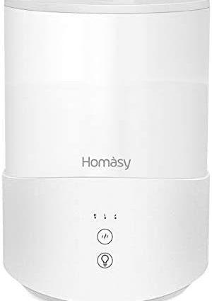 Homasy 2.5L Humidificateur d'air, Diffuseur d'Huiles Essentielles à Brume Fraîche, 3 Modes de Brume, avec LED à 7 Couleurs, Arrêt Automatique sans Eau, Mode Veille, pour Le Bureau/Domiciles