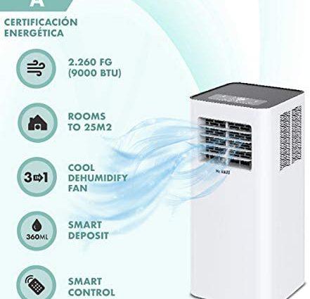 Mc Haus ARTIC-26 - Climatiseur mobile 9000BTU classe énergétique A écologique, 3 en 1: refroidissement, ventilation et déshumidification, télécommande, 25m2, blanc