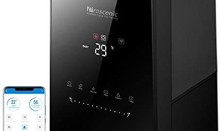 Proscenic 808C Humidificateur d'Air Maison/Bébé/chambre intelligent,Grande Capacité 5,3L, Contrôle Appli et Télécommande, Buse à 360°,Diffuseur Huile Essentielle,avec fonction de minuterie.