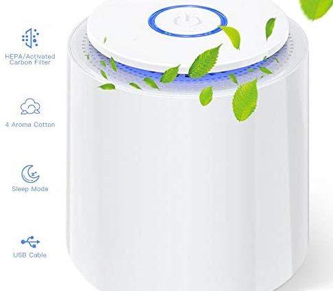 Purificateur d'air HEPA, Filtre à Charbon Actif, Ultra Silencieux, Fonction Aromathérapie,2 Mode Loniseur d'allergie, Fumée, Moisissure, Pollen,Poils d'animaux à la Maison, Bureau