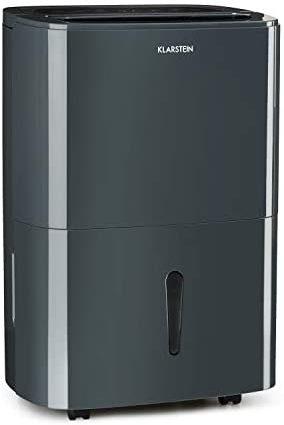 KLARSTEIN DryFy 20 - Déshumidificateur d'air, 20 L/24h, Puissance 420W, Réservoir d'eau de 5L, Pièces de 40-50 m² (jusqu'à 125 m³), Réglage Niveau d'humidité, Minuterie, 45 DB Seulement, Anthracite