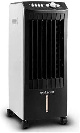 OneConcept MCH-1 V2 - Rafraîchisseur d'air, Ventilateur, 65W, Volume d'air de 400m³/h, 65W, Econome, Humidificateur, Nettoyeur, Filtre poussière intégré - Noir