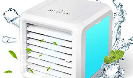 Baban Climatiseur Mobile 3 en 1 Mini Refroidisseur d'air Climatiseur Ventilateur de Table Silencieux Ventilateur de Table 7 LED Mode de Conversion Facile à Transporter, Très approprié pour Le Bureau