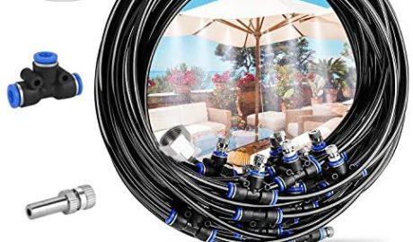 Deyard Kit d'irrigation Goutte à Patio Misting Micro Flow Drip Kit with 65.6FT(20M) Jardin Brumisation Refroidissement Système d'arrosage Distribution pour Trampoline de Serre pour Waterpark