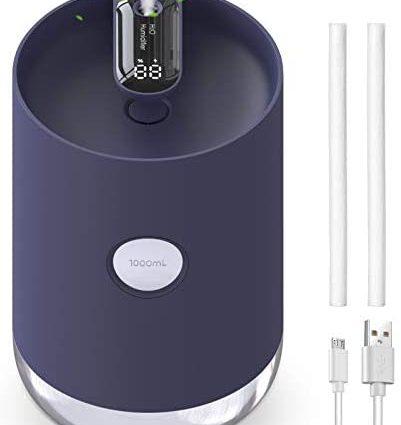 Humidificateur 1000ml, QUARED Portable Ultrasonique Humidificateur d'air USB Silencieux, Arrêt Auto, Veilleuse, pour Maison, Chambre Bébé, Bureau (Bleu Foncé)