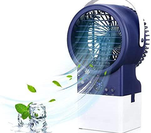 Jeteven 4 en 1 Climatiseur Portable,Refroidisseur d'air Portable Climatiseur Mini Personnel Mobile Turbo Ventilateur Climatisation Air Refroidisseur Silencieux Humidificateur pour Maison & Bureau