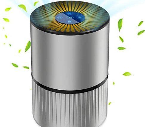Purificateur d'Air Anion, Air Ioniseur Maison avec Filtre à Charbon, 5 filtrations, 3 Vitesses et 2/4/8H Minuterie,<20db, min 2W, Veilleuse, sans Ozone, Elimine 99,97% de Fumée Allergènes Poussière