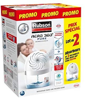 Rubson AERO 360° Pure lot de 2 Absorbeurs d'humidité, Assainisseurs d'air recommandés par L'AFPRAL*, Déshumidificateurs d'air pour pièces de 20 m², inclus 2 recharges neutres de 450 g