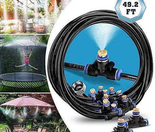 infinitoo Système de brumisation, Système de brumisateur extérieur, Brumisateur de terrasse, Kit de brumisation Idéal pour système d'irrigation pour parasol, gazebo, serre, jardin, piscine, etc. (15M)