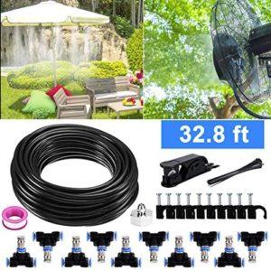 Bearbro Système d'irrigation Système de Refroidissement,Système de brumisateur extérieur, Kit de brumisation Idéal pour Gazebo Réseaux Pergolas Piscine (10 mètres)