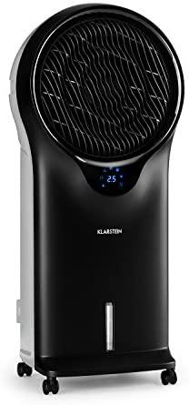 KLARSTEIN Whirlwind - Rafraîchisseur d'air, Ventilateur, Humidificateur, 3 Niveaux de Puissance, 3 Modes de Ventilation, Lamelles rotatives à 360°, Timer, Télécommande - Noir