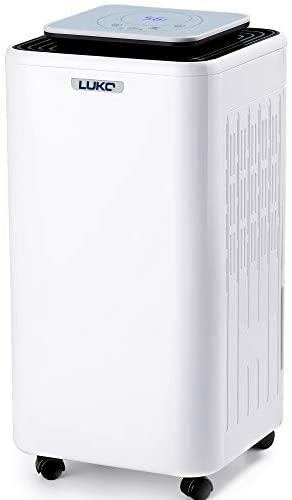 LUKO 12L Déshumidificateur Electrique Portable Hygrostat Contrôle Minuterie d'arrêt Automatique Seche Linge Réservoir 2L Évacuation Continue Absorbeur d'humidité pour Chambre Cave 175W1,0A