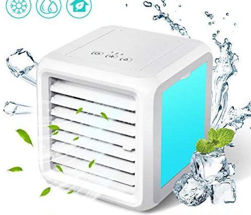Baban Climatiseur Mobile 3 en 1 Mini Refroidisseur d'air Climatiseur Ventilateur de Table Silencieux Ventilateur de Table 7 LED Mode de Conversion Facile à Transporter, Très approprié pour Le Bureau