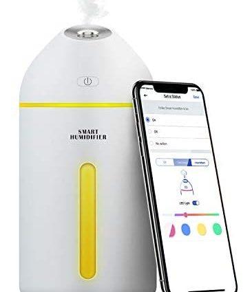 Humidificateur d'Air, 320ml Humidificateur Ultrasonique Mini Compatible avec Alexa, Google Home et SmartThings, Humidificateur WiFi avec Commande Vocale, Contrôle à Distance et Fonction de Temps
