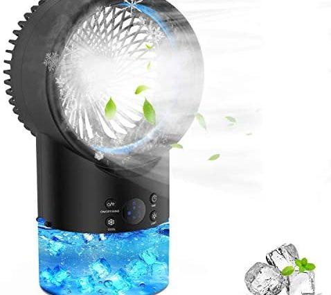 Refroidisseur d'air Portable Climatiseur Mobile, EEIEER 4 en 1 Climatiseur Portable Turbo Ventilateur Climatisation Silencieux Mini Personnel Air Refroidisseur Humidificateur pour Maison & Bureau