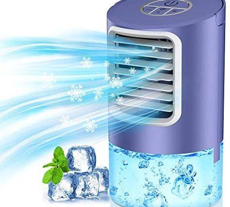 Climatiseur Portable, Refroidisseur d'Air Silencieux, Évaporateur et Humidificateur avec 7 Couleurs LED et Minuterie 2/4H, Refroidissement Rapide de l'Espace Personnel, pour la Maison, le Bureau